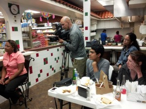 Telemundo National Correspondent Lori Montenegro spent several days in NE Ohio for her three part series. Here she is conducting an interview inside a Painesville Mexican grocery store/taqueria.